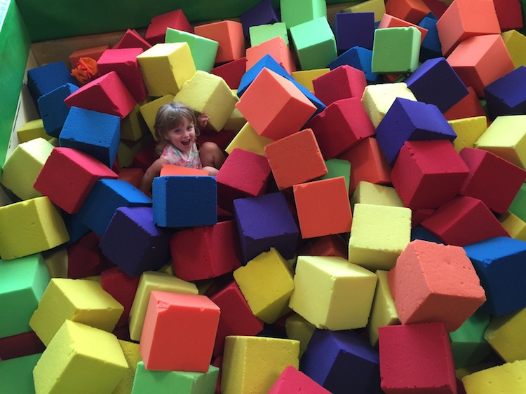 Soft blocks at Cool Beans Cafe are fun to slide into!