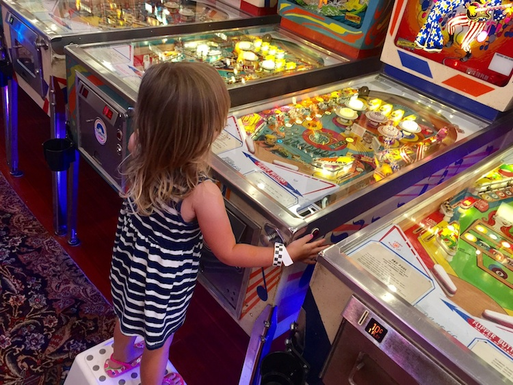 Silverball Pinball offers step stools for little ones to play.