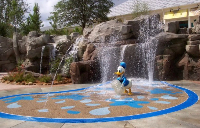 Donald Duck themed splash area for Disney Pools for kids at Saratoga Springs resort pool