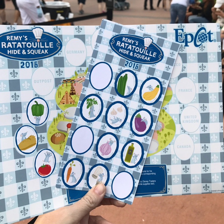 A map and sticker sheet from Remy's Ratatouille Hide and Squeak activity offered at the Epcot International Food and Wine Festival
