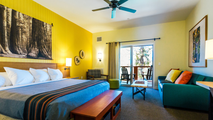 Rush Creek Lodge rooms feature stylish details and balconies.