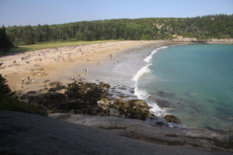 Cool down after a family hike! A swim at sand Beach in Acadia National Park in Maine is a chilly treat!