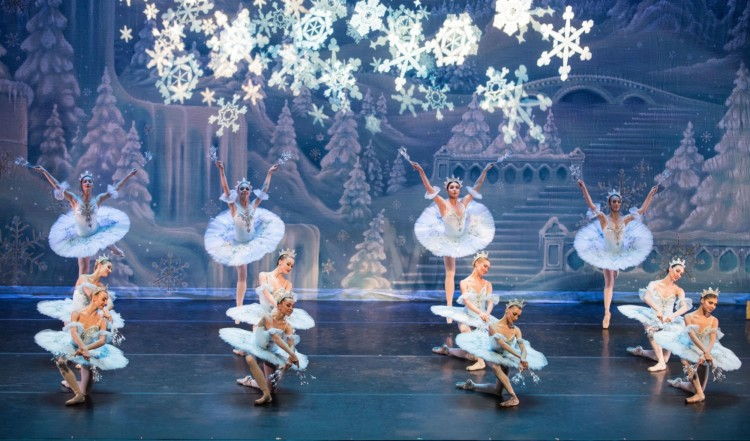 One of the favorite parts of any Nutcracker is the waltz of the chorus. The Moscow Ballet story takes place in the Magical Snow Forest. Photo Credit: Moscow City Ballet