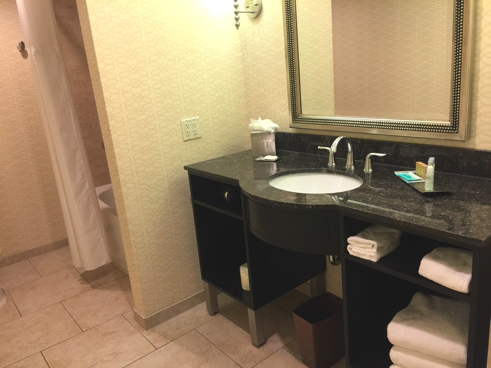 The huge bathroom at the DoubleTree Suites downtown Detroit.