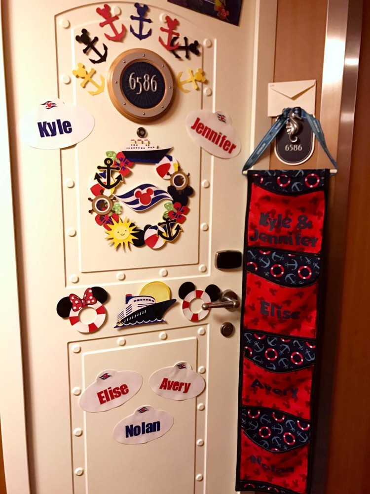 Disney Cruise tips guide your packing choice, like remember to bring items for a Decorated Fish Extender Door like the one seen here