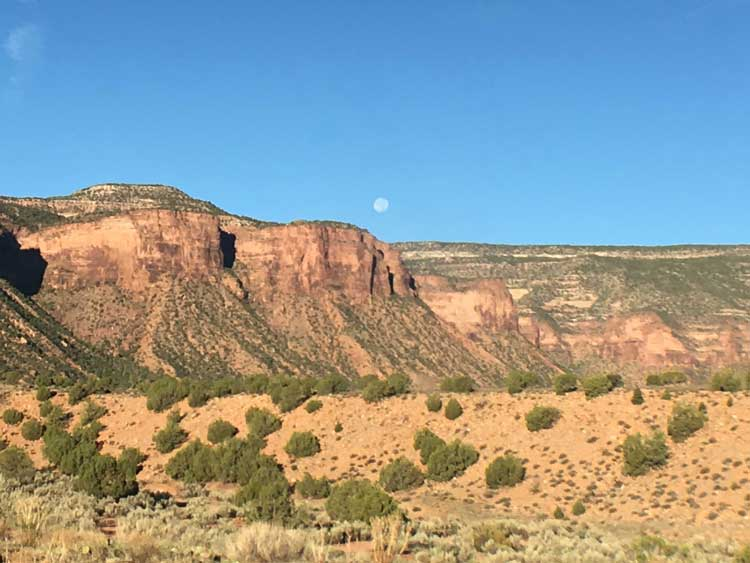 Of the manythings to do at Gateway Canyons Resort, an early morning hike might just reward you with a view of a full moon at sunrise.