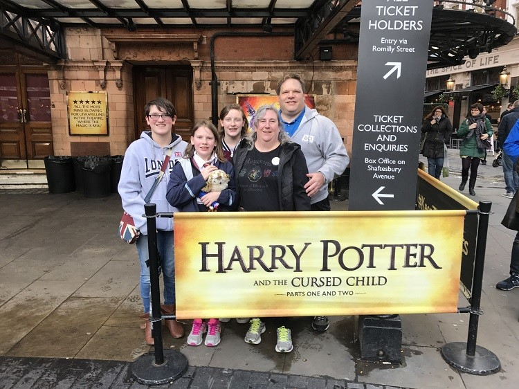 5 Essential Safety Tips for International Travel - our family outside the Palace Theater the day of the Westminster Bridge attack.