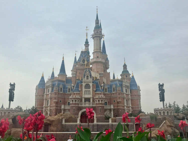 Shanghai Disneyland's Enchanted Storybook Castle from the front, with flowers in the foreground