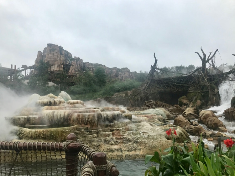 The mountain and water features of Roaring Rapids, one of Shanghai Disneyland's most noteworthy rides