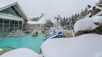 The outdoor heated pool s are a great way to relax at Snowshoe Mountain.