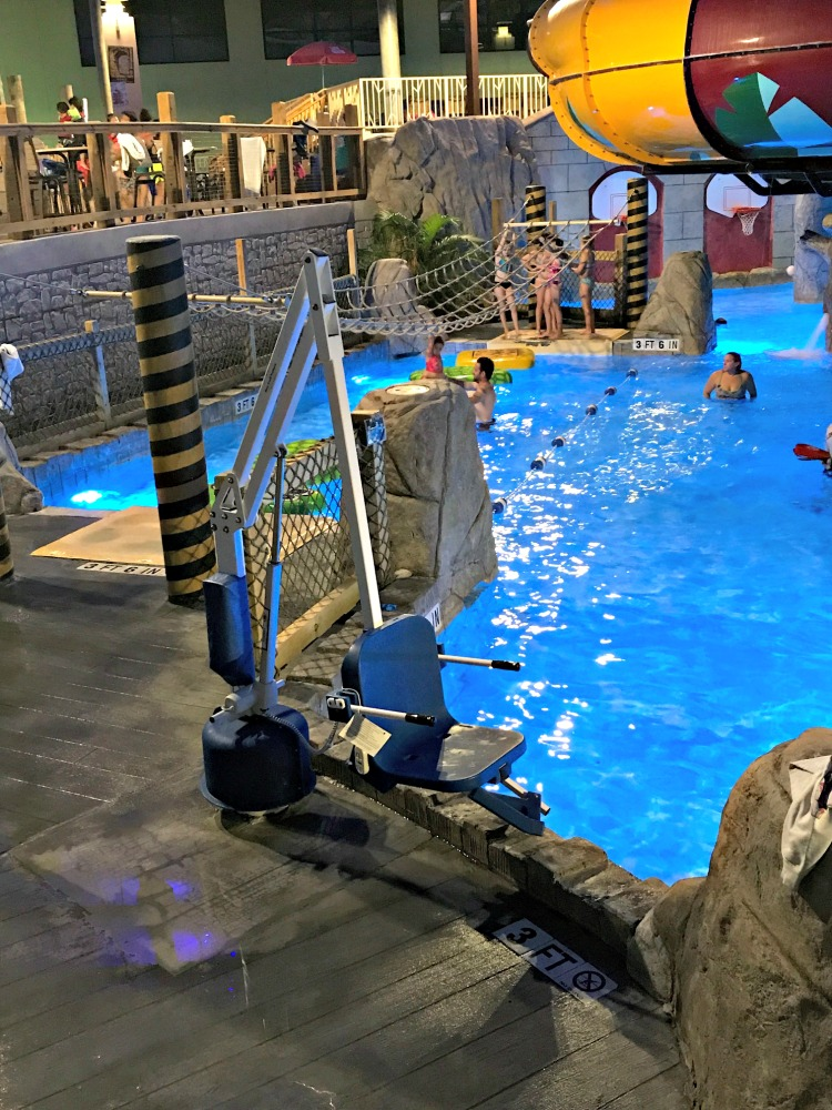 Camelback Lodge and Indoor Water Park is a special needs friendly resort in the Poconos and offers lift chairs for guests needing mobility help in the pool.