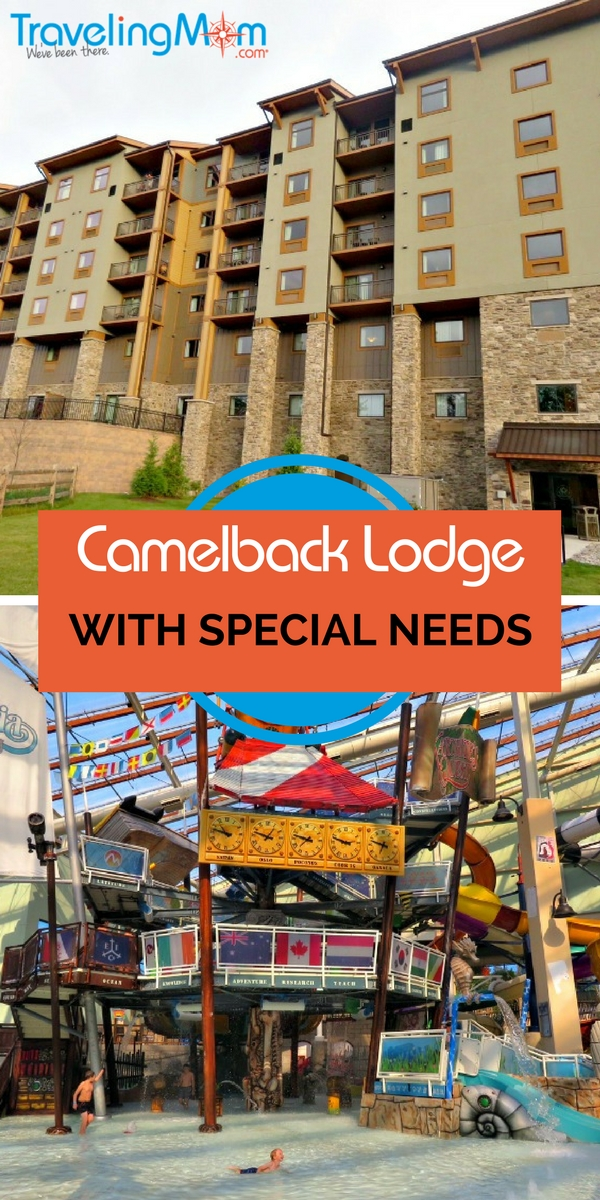 Camelback Lodge and Indoor Water Park is a special needs friendly resort in the Poconos. Located in Tannersville, PA Camelback offers year round fun for everyone including special needs families. WIth accessible rooms and suites, rooms with kitchens to prepare your own food for special diets, chefs to work with you to meet dietary needs, lift chairs in the pools and more Camelback is a special needs friendly destination in The Poconos.