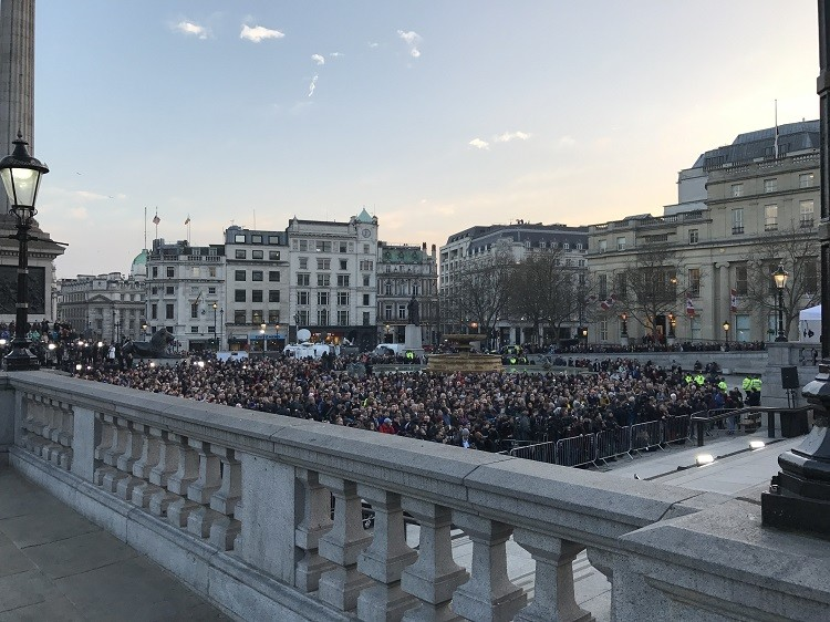 5 Essential Safety Tips for International Travel - Trafalgar Square vigil for the Westminster Bridge attack victims.