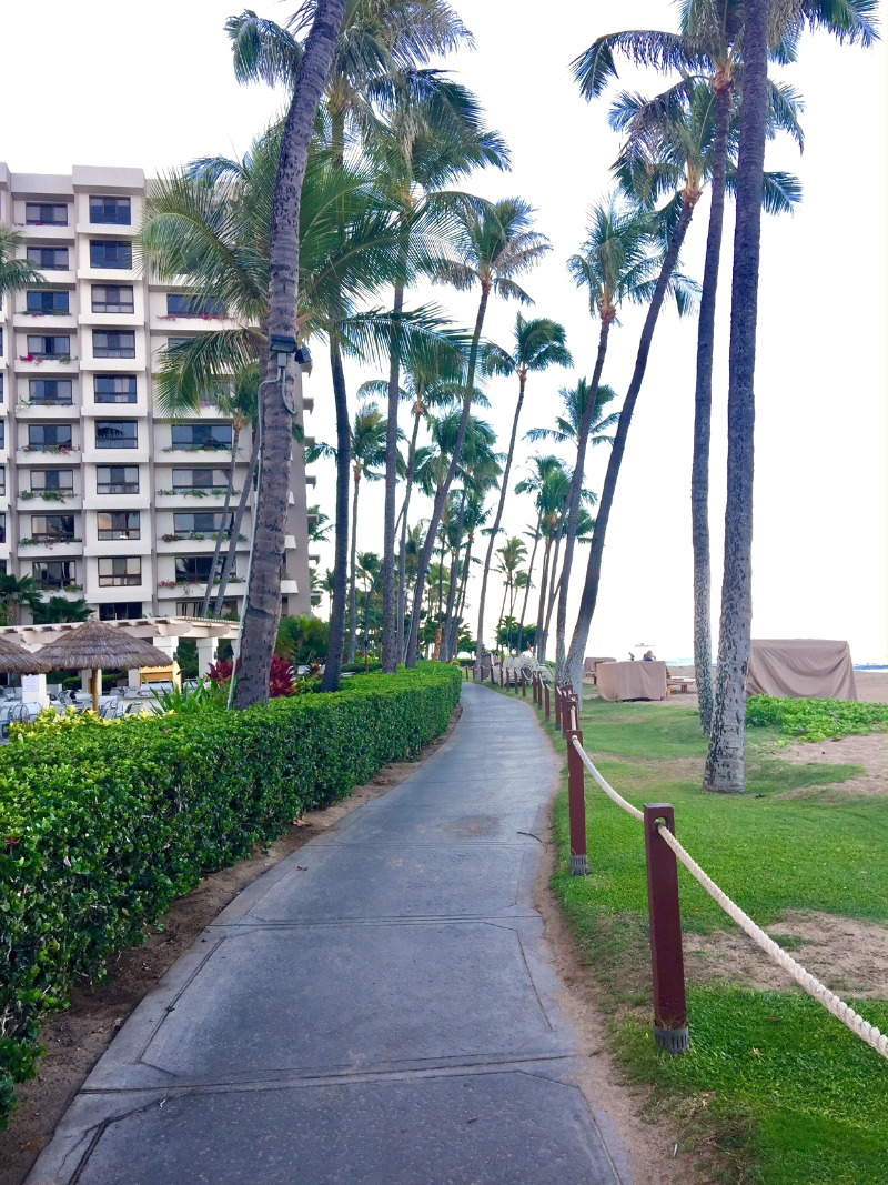 This path along the beach makes it easy to walk from one Ka'anapali Beach Resort to the next.