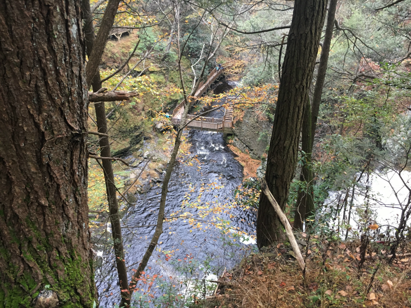 One of the many beautiful views at Bushkill Falls park during your fall family fun at the Pocono Mountains, PA