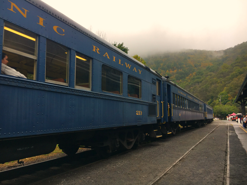 Do ride the Fall Foliage train when visiting Jim Thorpe for Fall Family Fun in The Pocono Mountains. PA