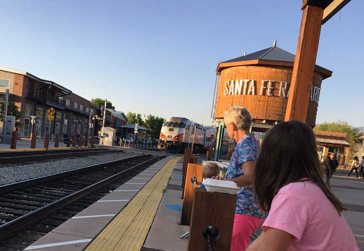 The Second Street Brewery at the Santa Fe Railyard offers kids the opportunity to watch the commuter trains roll by in New Mexico.