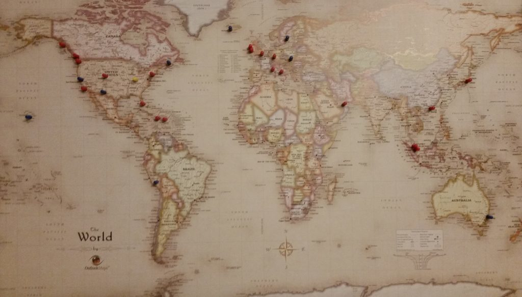 Dan Miller loves this magnetic world map with pins and says it is one of the best travel gifts for men.
