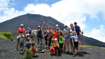 Family and Friends having fun on a Volcano Hike in Guatemala.