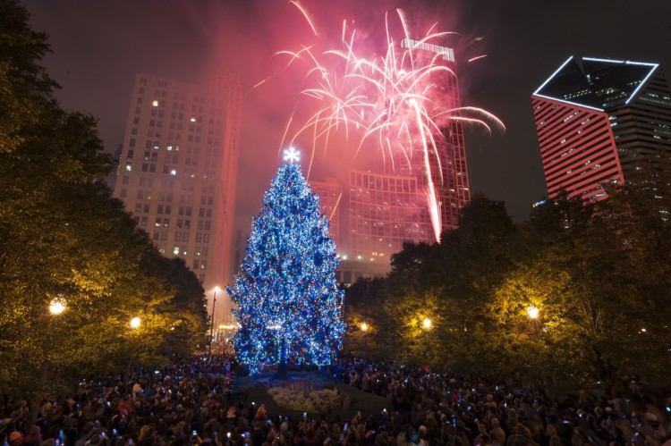 Chicago's annual tree lighting is a popular holiday event for families.