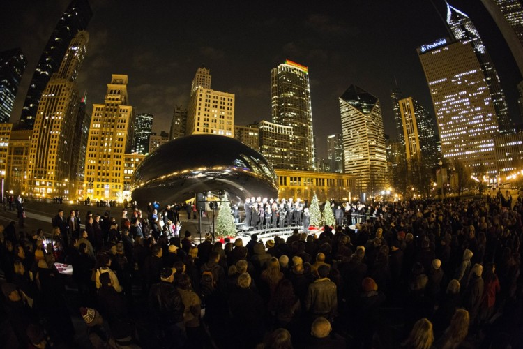 "Caroling at ""The Bean"" is one of the best holiday events in Chicago."