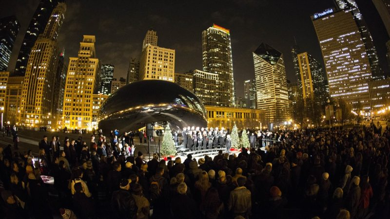 "Caroling at ""The Bean"" is one of the fun and free holiday activities in Chicago."