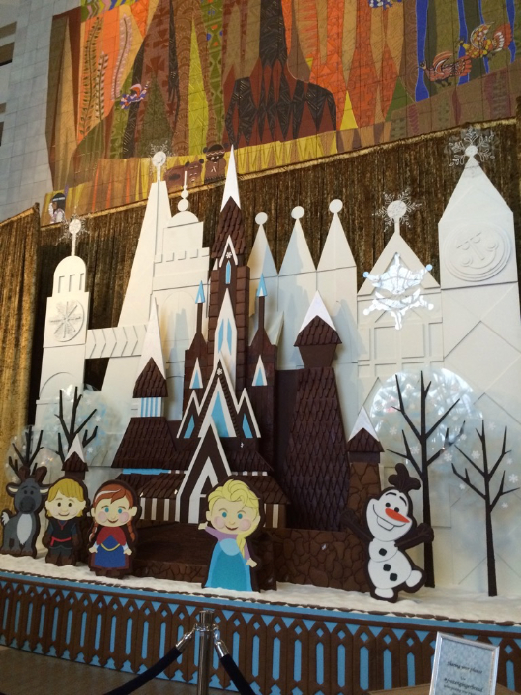 A gingerbread house, Olaf, Anna, and Elsa at Disney's Contemporary Resort is just one example of the holiday celebrations at Disney World