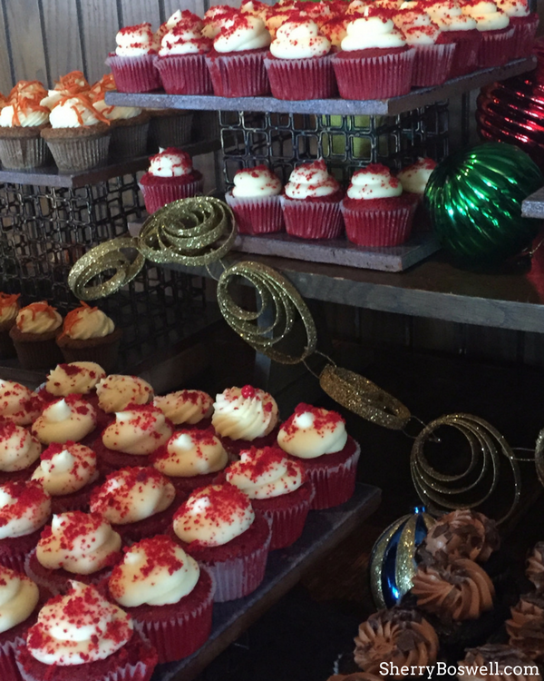 What makes the Omni Grove Park Inn the best Christmas hotel in Asheville? The Blue Ridge buffet. Save room for dessert like these delicious red velvet cupcakes