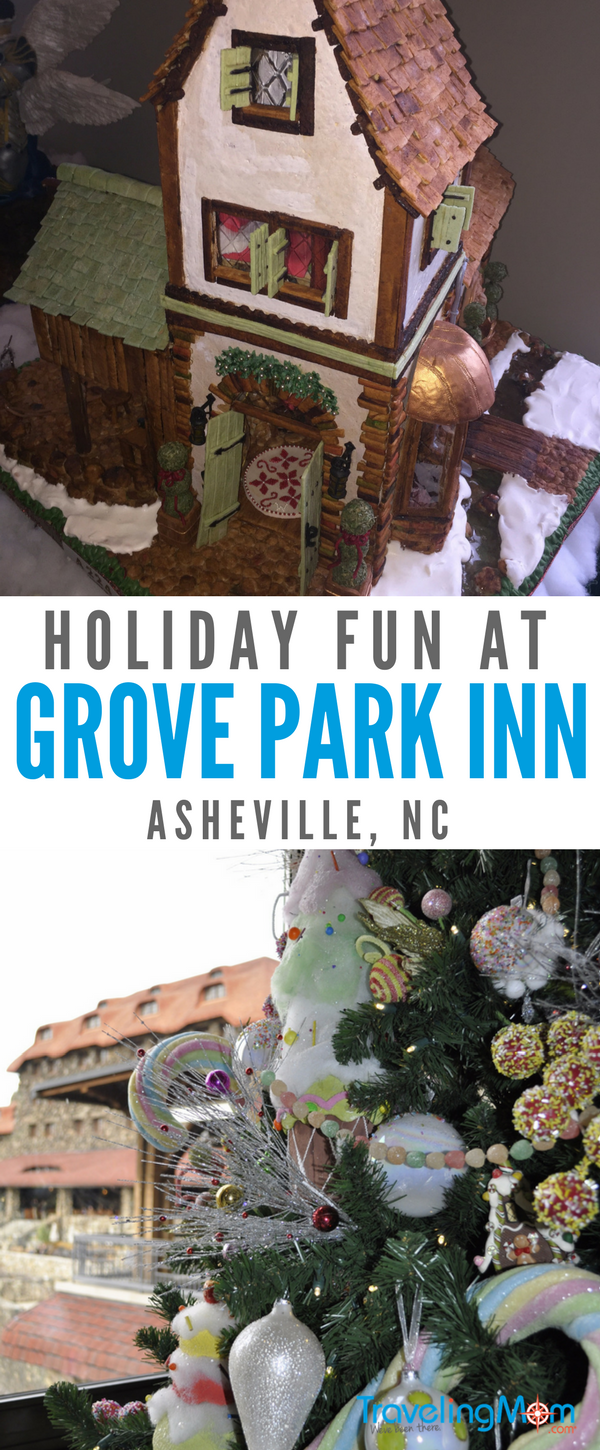 What makes the Omni Grove Park Inn the best Christmas hotel in Asheville? Gingerbread houses and bountiful buffet and holiday decorations. Be sure to go check it out!