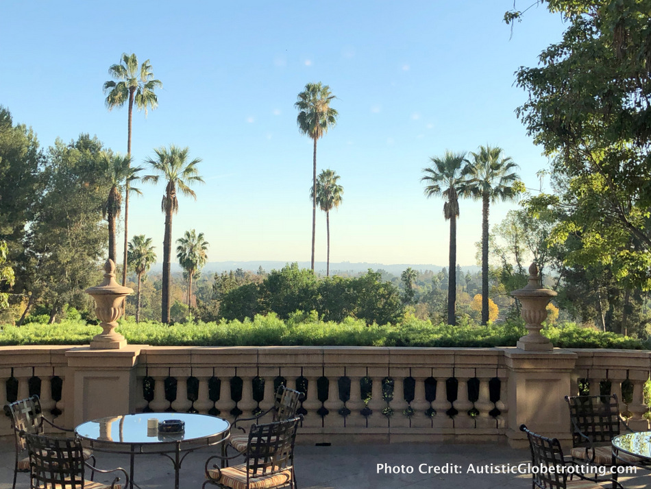 The view of the mountains and palm trees from the Langham Pasadena is spectacular