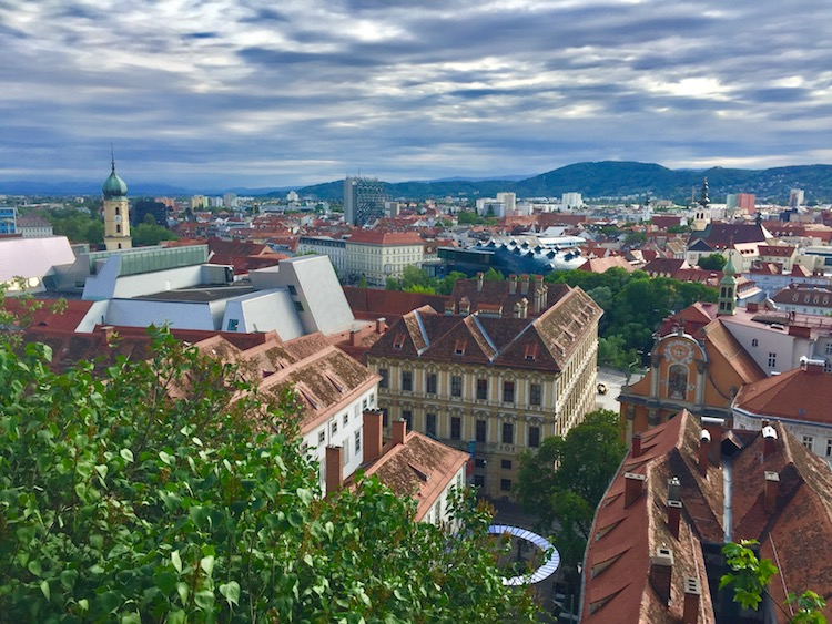 View from Schlossberg hill is one of the best things to do in Graz, Austria