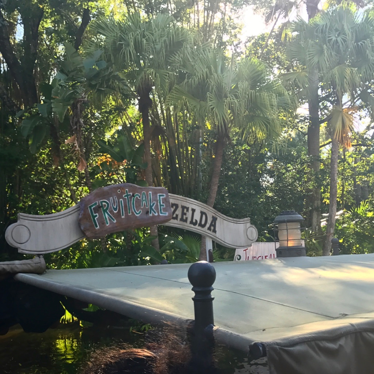 "A Jingle Cruise boat sign stating ""Fruitcake Zelda"", one of the changes to the ride to celebrate holidays at Disney World"
