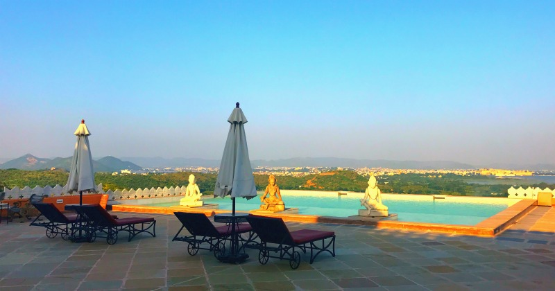 Samode Palace pool, visiting India with kids