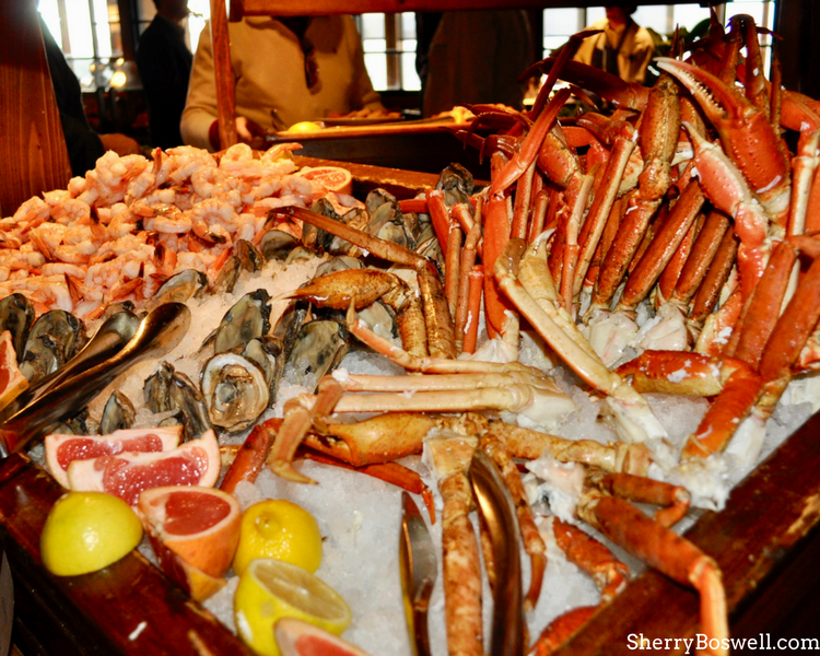 What makes the Omni Grove Park Inn the best Christmas hotel in Asheville? The amazing Sunday brunch with this seafood buffet.