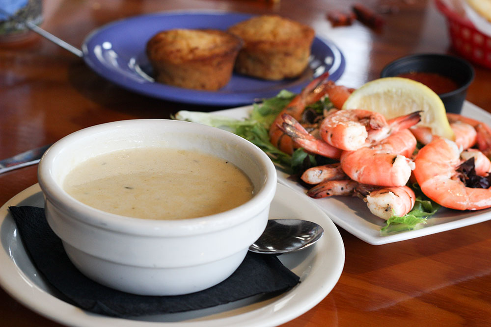 Corn and shrimp chowder from Spinnakers is a great way to warm up on a rainy day in Panama City Beach, FL.