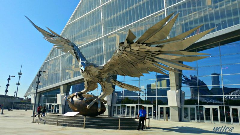 Football Fans can view the world's largest metal bird sculpture outside Mercedes-Benz Stadium in Atlanta.