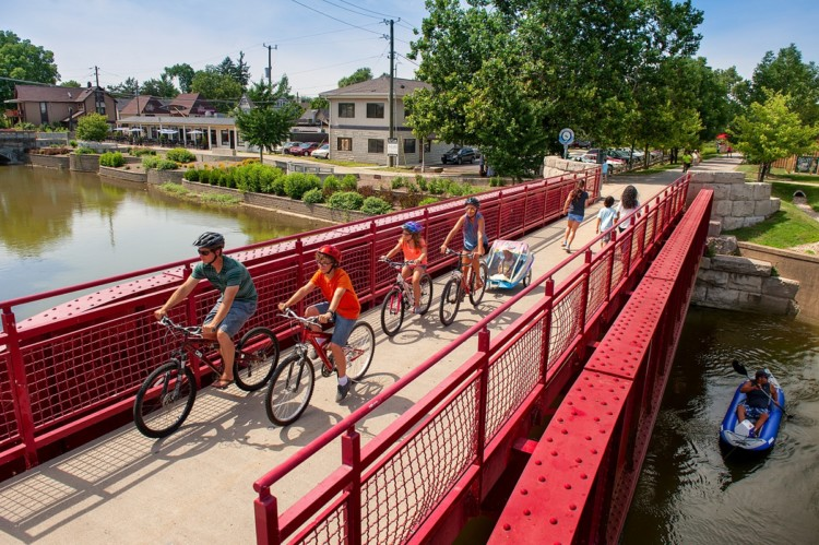 Family biking trails in Indianapolis include the Cultural Trail and the Monon Trail.