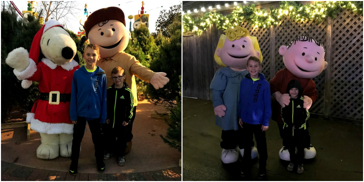 Finding Snoopy and Pals is easy while at Worlds of Fun WinterFest with kids!