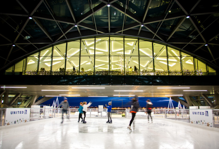 Get in on the free things to do in Denver starting at the Denver International Airport with free ice skating. and other festive holiday themed entertainment.