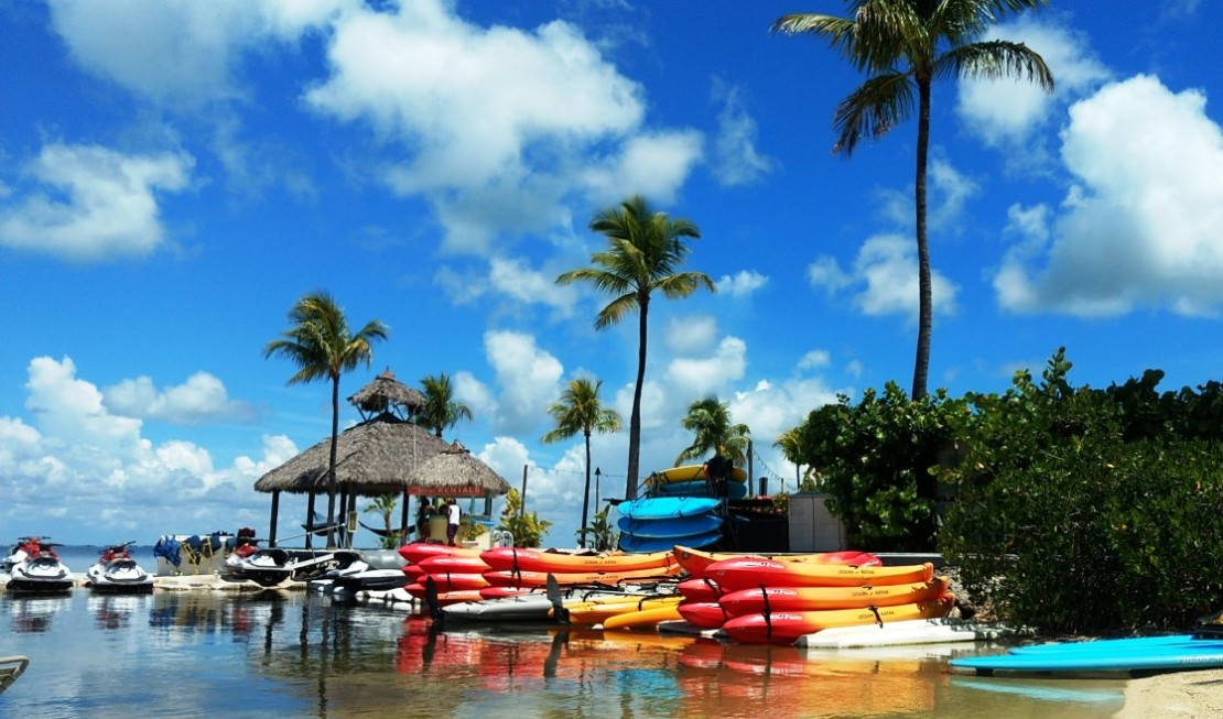 There's plenty of outdoor activities including water sports at the Key Largo Bay Marriott Beach Resort. Here's a full review.