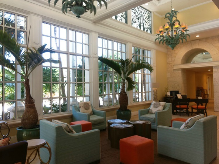 The recently renovated lobby at the Key Largo Bay Marriott Beach Resort is a wonderful spot to relax.