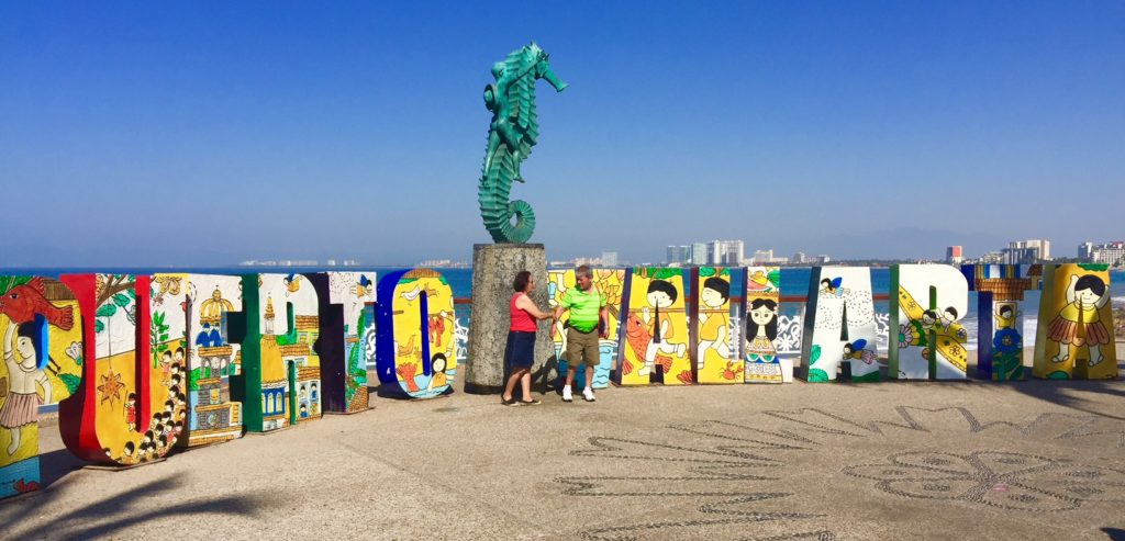 This Puerto Vallarta welcome sign is just one piece of public art along the waterfront. Where to stay when eploring Puerto Vallarta? Read this Hyatt Ziva Puerto Vallarta reveiw