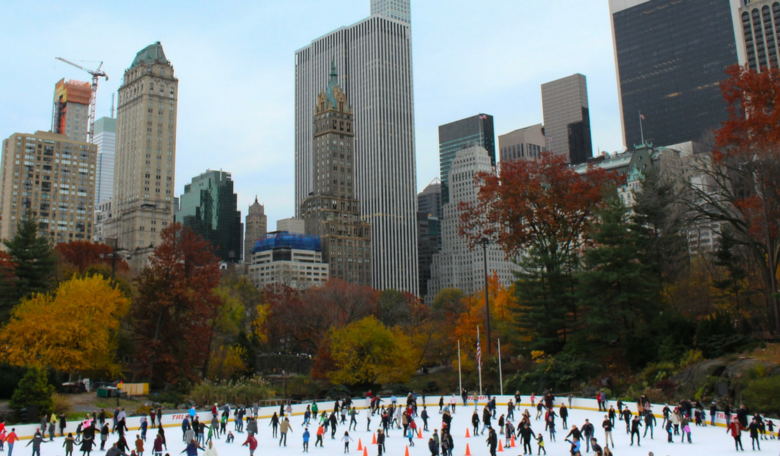 Holiday travel inspired by movies, starting with Elf in New York City and ice skating in Central Park.