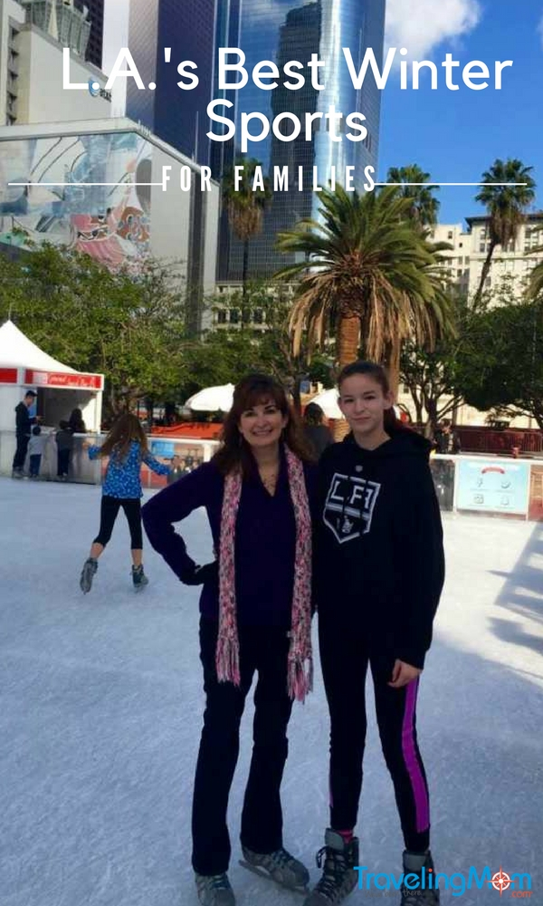 Best winter sports for families in L.A. include ice skating.