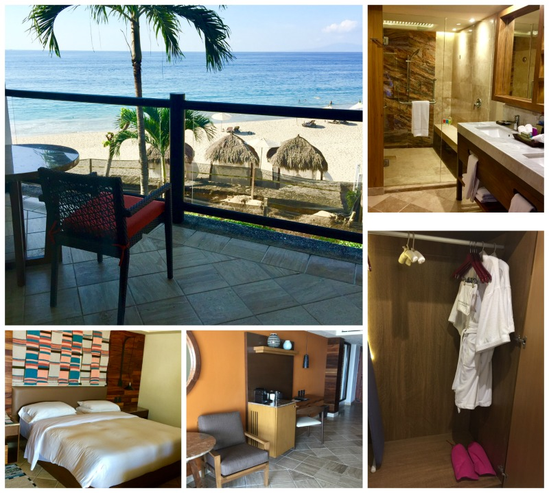 Hyatt Ziva Puerto Vallarta review, all inclusive luxury, clockwise from top left: The view from the balcony, the luxurious bathroom, the plush robet, desk area, and the comfy bed.