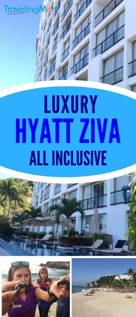 The Hyatt Ziva Puerto Vallarta luxury all inclusive is a family friendly hotel on the beach in Mexico. Great food, gorgeous beach, friendly service and baby turtles in the fall and whales in the winter!