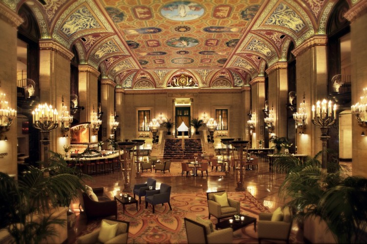 Stay at a historic hotel like the Palmer House during your Chicago shopping weekend trip.