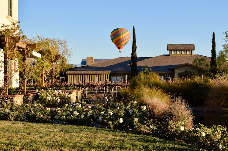 Hot air balloon over the Ponte Vineyard Inn was a beautiful sight during our 2 days in Temecula CA and one of many great things to do