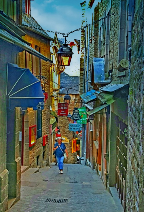 Charming streets of Mont Saint Michel