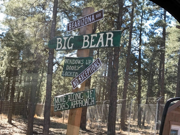 Cautionary signage and tips for visiting Bearizona